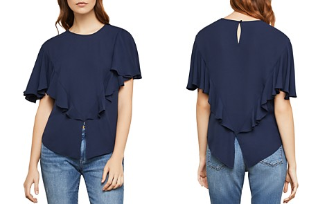 BCBGMAXAZRIA Ruffled Split-Hem Top - Bloomingdale's_2