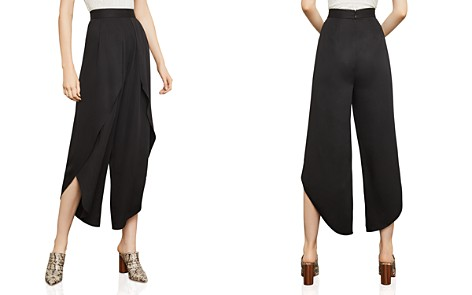BCBGMAXAZRIA Draped Overlay Cropped Wide-Leg Pants - Bloomingdale's_2