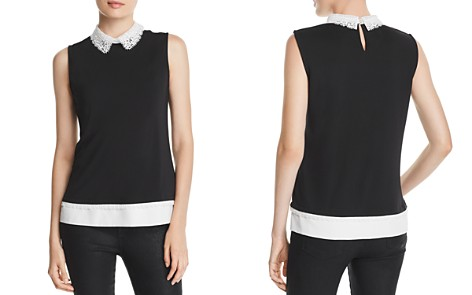 KARL LAGERFELD Lace-Collar Layered-Look Top - Bloomingdale's_2