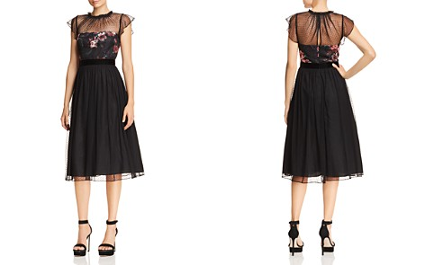 Adrianna Papell Floral Print & Dot Tulle Flare Dress - Bloomingdale's_2