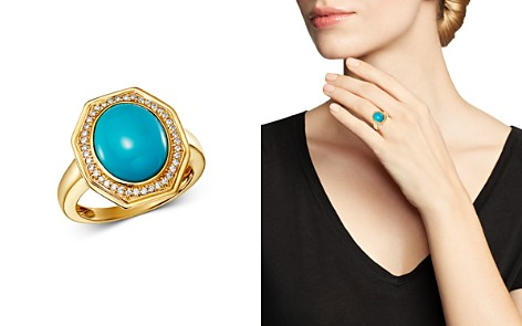 Bloomingdale's Turquoise & Diamond Octagonal Statement Ring in 14K Yellow Gold - 100% Exclusive_2