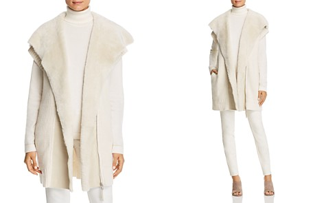 Lafayette 148 New York Shearling Collar Ribbed Cashmere Vest - Bloomingdale's_2