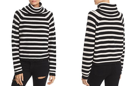 AQUA Oversized Striped Turtleneck Sweater - 100% Exclusive - Bloomingdale's_2