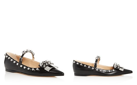 Sergio Rossi Women's Embellished Leather Pointed Toe Mary Jane Flats - Bloomingdale's_2