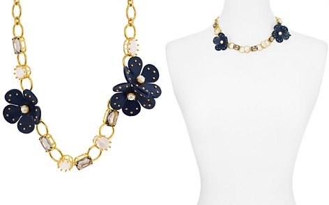"kate spade new york Chain Leather Flower Necklace, 17"" - Bloomingdale's_2"
