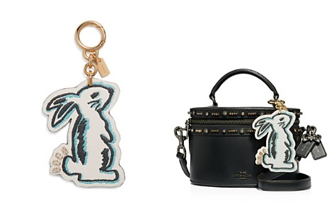 COACH Selena Bunny Leather Key Ring & Bag Charm - Bloomingdale's_2