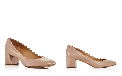 Chloé Women's Lauren Round Toe Leather Block-Heel Pumps - Bloomingdale's_2