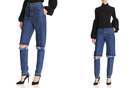 Ksenia Schnaider Cutout Straight Jeans in Medium Blue - Bloomingdale's_2