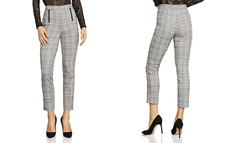 BCBGMAXAZRIA Cropped Straight-Leg Plaid Pants - Bloomingdale's_2