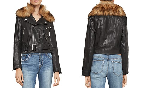 BCBGMAXAZRIA Kaylee Faux Fur-Trim Leather Moto Jacket - Bloomingdale's_2