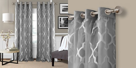 """Elrene Home Fashions Bethany Geometric Overlay Blackout Curtain Panel, 52"""" x 84"""" - Bloomingdale's_2"""