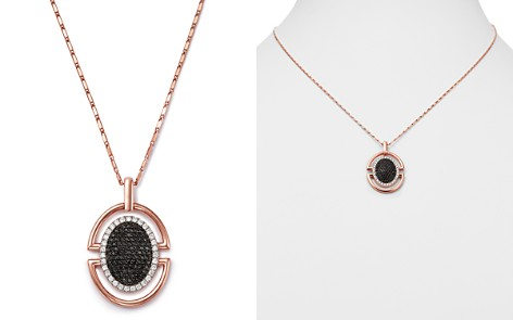"Bloomingdale's Diamond & Black Diamond Round Pendant Necklace in 14K Rose Gold, 18"" - 100% Exclusive_2"