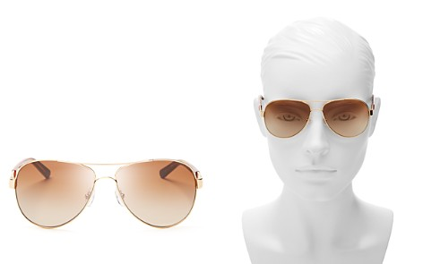 Tory Burch Women's Classic Stripe Aviator Sunglasses, 57mm - Bloomingdale's_2