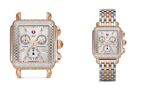 MICHELE Deco Diamond Two-Tone Diamond Dial Watch Head, 33 x 35mm - Bloomingdale's_2