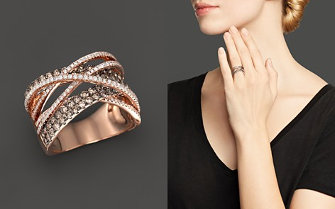 Brown and White Diamond Crossover Ring in 14K Rose Gold - 100% Exclusive - Bloomingdale's_2