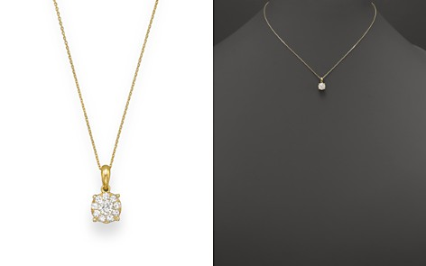 Diamond Cluster Pendant Necklace in 14K Yellow Gold, .25-.50 ct. t.w. - 100% Exclusive - Bloomingdale's_2