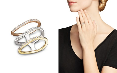 Diamond Triple Row Ring in 14K Yellow, White and Rose Gold, .50 ct. t.w. - Bloomingdale's_2