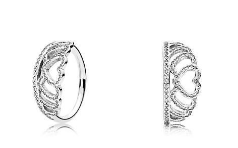 PANDORA Sterling Silver & Cubic Zirconia Hearts Tiara Ring - Bloomingdale's_2