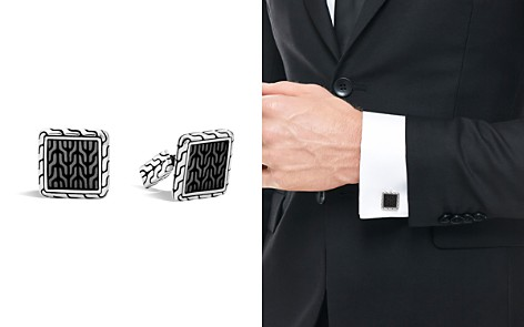 John Hardy Classic Chain Sterling Silver Enamel Square Cufflinks with Transparent Grey Enamel - Bloomingdale's_2