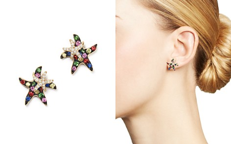 Multi Sapphire and Diamond Starfish Earrings in 14K Yellow Gold - Bloomingdale's_2