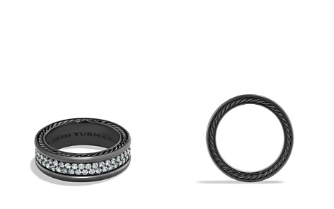 David Yurman Pavé Two Row Ring with Grey Sapphire in Black Titanium - Bloomingdale's_2