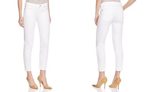 7 For All Mankind Kimmie Crop Skinny Jeans in Clean White - Bloomingdale's_2