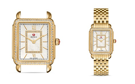 MICHELE Deco II Gold Diamond Dial Watch Head, 26mm x 27.5mm - Bloomingdale's_2