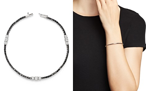 White and Black Diamond Three Station Tennis Bracelet in 14K White Gold - 100% Exclusive - Bloomingdale's_2