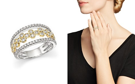 Diamond Triple Row Open Ring in 14K White and Yellow Gold, .90 ct. t.w. - 100% Exclusive - Bloomingdale's_2