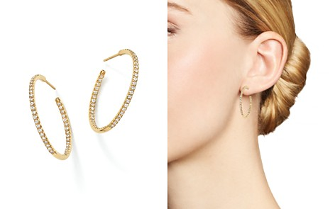 Roberto Coin 18K Yellow Gold Micropave Inside-Out Diamond Hoop Earrings - Bloomingdale's_2