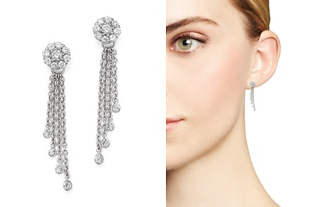Diamond Cluster Tassel Earrings in 14K White Gold, .45 ct. t.w. - Bloomingdale's_2