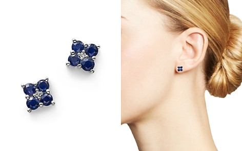 Blue Sapphire and Diamond Stud Earrings in 14K White Gold - Bloomingdale's_2
