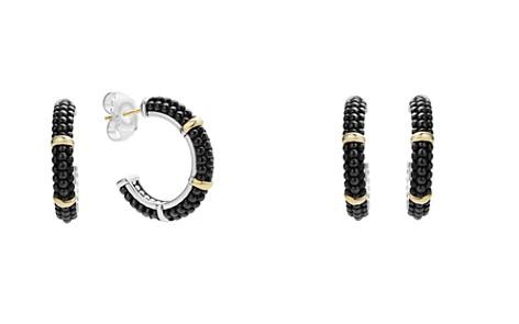 LAGOS Black Caviar Ceramic 18K Gold and Sterling Silver 3 Station Hoop Earrings - Bloomingdale's_2