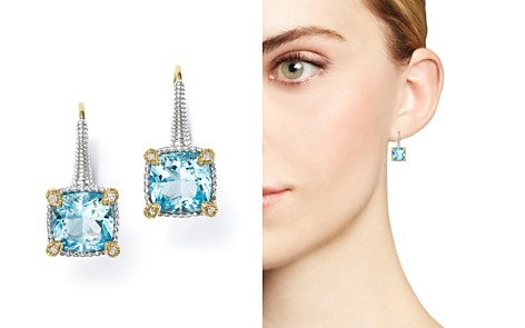 Judith Ripka 18K Yellow Gold and Sterling Silver Berge Cushion Drop Earrings with Sky Blue Topaz and Diamonds - Bloomingdale's_2