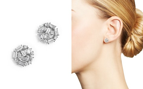 KC Designs Diamond Round and Baguette Stud Earrings in 14K White Gold, .60 ct. t.w. - Bloomingdale's_2