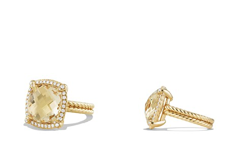 David Yurman Châtelaine Pavé Bezel Ring with Champagne Citrine and Diamonds in 18K Gold - Bloomingdale's_2
