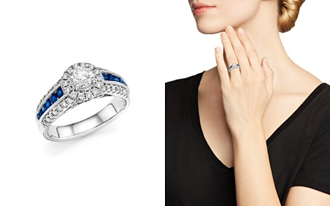 Diamond and Sapphire Engagement Ring in 14K White Gold - 100% Exclusive - Bloomingdale's_2