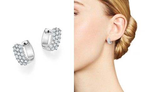 Diamond Huggie Hoop Earrings in 14K White Gold, 1.0 ct. t.w. - 100% Exclusive - Bloomingdale's_2