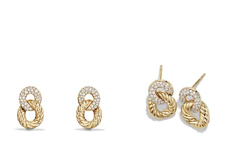 David Yurman Belmont Extra Small Curb Link Drop Earrings with Diamonds in 18K Gold - Bloomingdale's_2