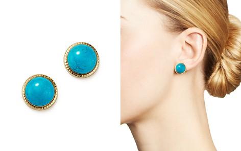 Turquoise Bezel Set Stud Earrings in 14K Yellow Gold - 100% Exclusive - Bloomingdale's_2