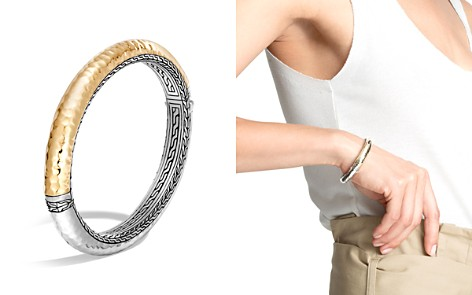 John Hardy Sterling Silver and 18K Bonded Gold Classic Chain Hammered Oval Hinged Bangle - Bloomingdale's_2