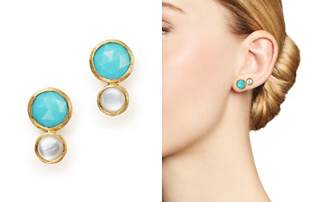 Marco Bicego 18K Yellow Gold Jaipiur Turquoise and Mother-Of-Pearl Climber Stud Earrings - 100% Exclusive - Bloomingdale's_2