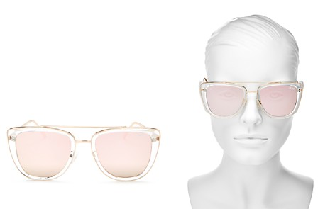 Quay Women's French Kiss Mirrored Oversized Brow Bar Square Sunglasses, 54mm - Bloomingdale's_2