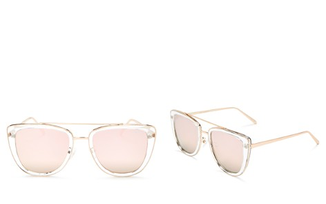 Quay French Kiss Mirrored Brow Bar Oversized Square Sunglasses, 54mm - Bloomingdale's_2