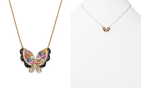 """Multi Sapphire Butterfly Pendant Necklace with Black and White Diamonds in 14K Yellow Gold, 16"""" - 100% Exclusive - Bloomingdale's_2"""