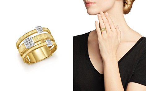 Marco Bicego 18K White and Yellow Gold Masai Three Row Pavé Diamond Ring - Bloomingdale's_2