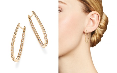 Diamond Inside Out Oval Hoop Earrings in 14K Yellow Gold, 1.50 ct. t.w. - 100% Exclusive - Bloomingdale's_2