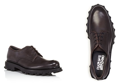 Salvatore Ferragamo Calfskin Leather Derbys with Injected Rubber Spikes - Bloomingdale's_2