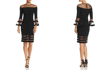 Avery G Illusion-Neck Bell Sleeve Dress - Bloomingdale's_2