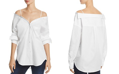 Theory Tamalee Dalton Stripe Cold-Shoulder Shirt - Bloomingdale's_2